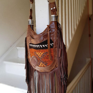 Southwestern fringed western fringe navajo gypsy turkish kilim moroccan orange brown leather unique coachella sweetsmokebags braided strap