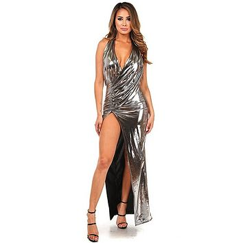 Fancy That Silver Metallic Sleeveless Halter Plunge V Neck Ruched Cross Wrap High Slit Maxi Dress