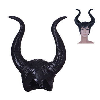 New Women Maleficent Mask Movie Maleficent Latex Horns Headpiece Halloween Female Masquerade Party Cosplay Rubber Head Masks