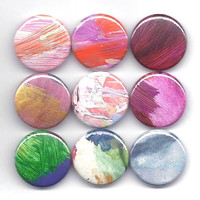 Colorful Abstract Art Pinback Button Made From A Tiny Original Painting / Wearable Art / Available In An Assortment Of Colors