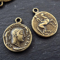 Greek Bronze Coin, Coin Charm, Rustic Coin, Large Coin, Syracuse Didrachm, Coin Pendant, Artemis, Greek Mythology, Antique Bronze Plated 2pc