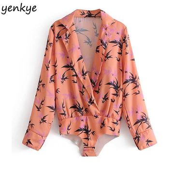 Women Printed Shirt Cross Sexy Deep V Neck Long Sleeve Blouse  Casual Tops