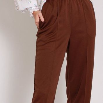 Brown Tapered Easy Pants / XS S