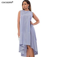 Straped Dress Fashion Plus Size Female Big Size Long Dresses Casual Loose Blue 5xl 6xl