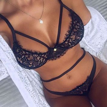 Lace Hollow Halter Underwear Lingerie Set