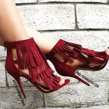 BURGUNDY WINE HIGH HEELS TASSEL FRINGE STILETTOS PUMPS OPEN TOE STRAPPY 5 5.5