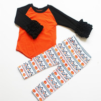 Preorder- orange and black icing raglan legging set