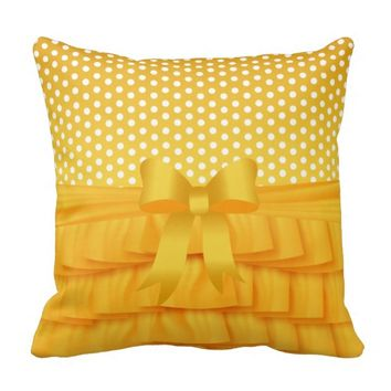Golden Yellow Satin Ruffle and Bow with Polka Dots Pillows