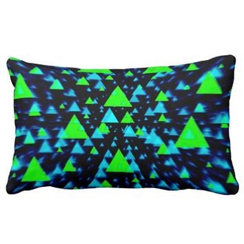 Green and blue triangles throw pillow.