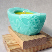 Spring Dance - Beewax/palmwax Candles - Medium Chantilly Design Natural Wax Candle (Teal/Yellow Color)