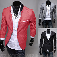 Straight Stand Collar Men Two Buttons Slim Fit Blazer SOS