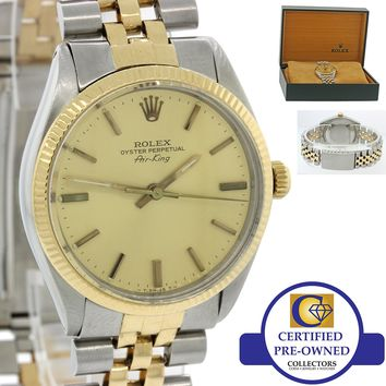 VTG Rolex Oyster Perpetual Air-King 18k Gold Steel Two Tone 5501 34mm Watch wBox