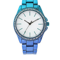 Kacie Blue Ombre Rhinestone Framed Watch