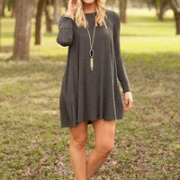 These Promises Long-Sleeve Tank Dress - Charcoal