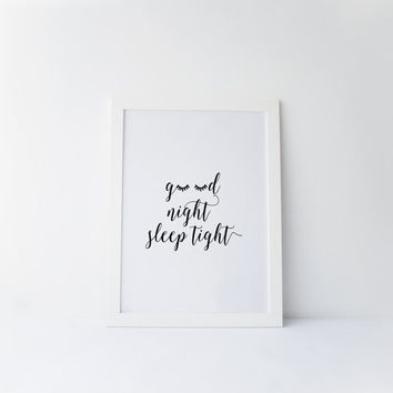 "PRINTABLE Art""Good Night Sleep Tight""Dorm Room Decor,Apartment Decor,Wall Decor,Bedroom Decor,Kids Room Decorating Ideas,Instant Download"