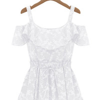 White Ruffled Bare Shoulder Pleated Top with Floral Detail