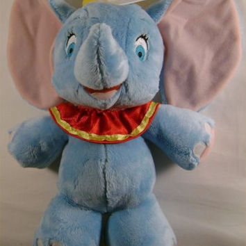 Disney Baby Plush Dumbo Blue Soft Toy Elephant Circus Costume Hat Embroidered
