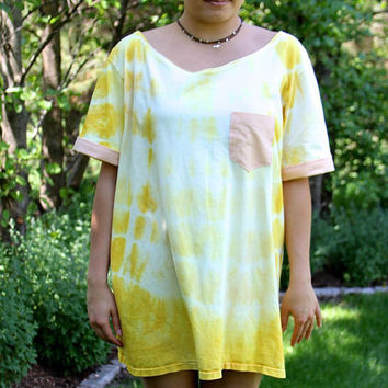 Eco Friendly T-Shirt Dress - Upcycled Recycled Repurposed Clothing -Yellow Tie Dye - Upcycled Top - Recycled Cotton - Oversized Tee Casual