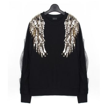 mesh splicing sleeve Sequins bead wing long sleeve sweatshirts women apparel black pullover tops FS0169