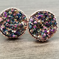 Rainbow faux druzy in Crown stud earrings (you pick setting tone)