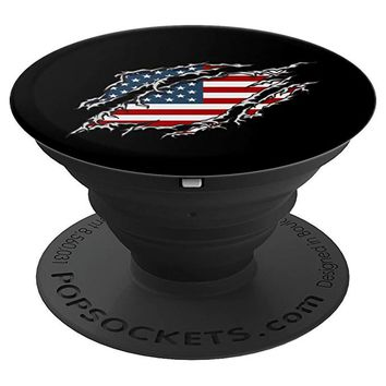American Flag Ripped Patriotic USA United States 4th of July - PopSockets Grip and Stand for Phones and Tablets