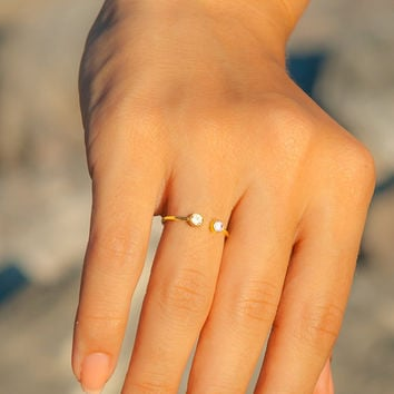 Personalized Ring - 14k Solid Gold Ring -Dual Birthstone Ring - Personalized Gift - Engagement Ring - Gemstone Statement Ring