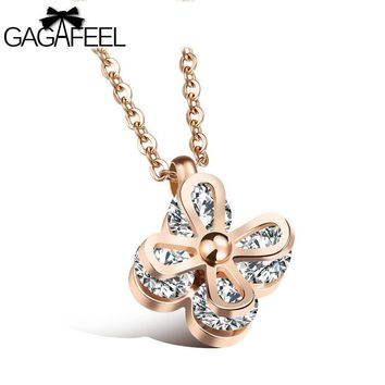 GAGAFEEL Romantic Clover Pendants Necklace For Women Zirconia Stainless Steel Pendant With Chain Silver Gold Color Dropshipping