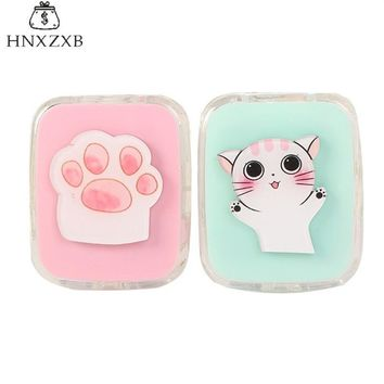 HNXZXB New Women Contact Lenses  Storage Box Cat  Contact lens Case Box Eyes Care Kit Holder Travel Washer Cleaner Container