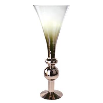 Regal Bulb Trumpet Smoke Glass Vase, Rose Gold/Clear, 22-Inch