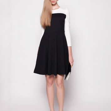 Black and White Long Sleeve Shirtwaist A-line Mini Skater Dress
