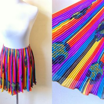 Summer Sale: rainbow stripes and paisley accordion skirt (free size)