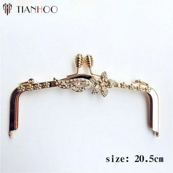 TIANHOO 20.5cm Metal Purse Frame Handle Kiss Clasp Lock Nonporous for Bags DIY Sewing Bag Parts Accessories Handbag Hardware
