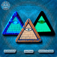Glow in the Dark Illuminati Pyramid Pendant in Gold Lapis Sand and Black EyeGloArts Handmade Blacklight jewelry
