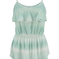 Patterned Tank With Ruffle - Mint Creme