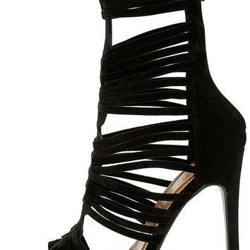 Like Totally Black Suede Caged Heels