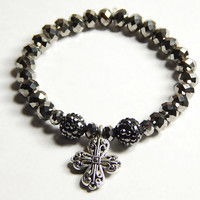 Beaded Stretch Bracelet With Celtic Cross And Pave Beads - Celtic Jewelry - Beaded Jewelry