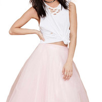 Pink Mesh Pleated Mid Skirt
