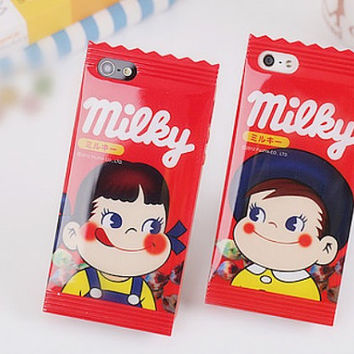 "milky candy wrapper design soft TPU cases covers for Apple iPhone 4.7"" Red Girls, Boys and family members"