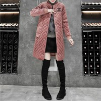 """""""Chanel"""" Women Temperament Fashion Embroidery Letter Cardigan Long Sleeve Middle Long Section Cotton-padded Clothes Coat"""