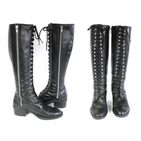 90s Punk Lace Up Combat Boots Black Leather Combat Boots Lace Up Boots Zipper Boots Grunge Chunky Heel Boots Tall Knee High Boots Size 5.5