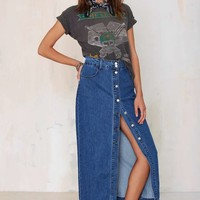 Glamorous Of One Mind Denim Maxi Skirt