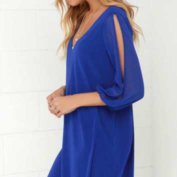 Shifting Dears Royal Blue Long Sleeve Dress