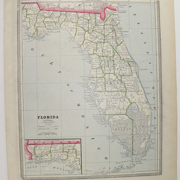 1885 Vintage Map Florida, Alabama Map, Southern State Map FL Vacation Gift for Family, Florida Decor Gift for Her, Man Cave Art Gift for Him