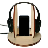 Laser cut wood headphone hanger,headphone station,wood smartphone stand,headphone holder,headset stand,headset hanger,cool headphone stand