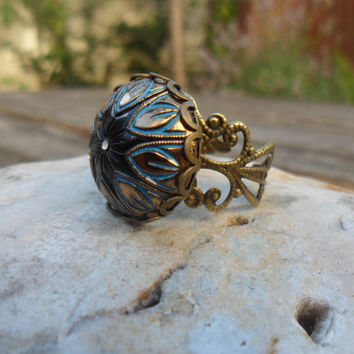 Mosaic glass cabochon ring, antique bronze, vintage cabochon, black blue and gold, lace edge setting, adjustable ring, Victorian ring