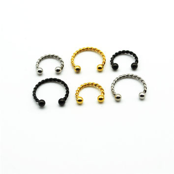 twised Fake Nose ring Septum Gold Titanium Small Seamless Nose Hoop Ring 8mm 10mm inner Diameter 316L Stainless Steel Clip