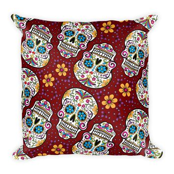 Sugar Skull Day of the Dead GARNET Square Pillow