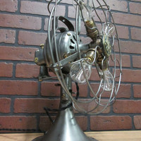 Vintage Industrial GE Brushed Steel Fan Table Lamp Light With Four Edison Bulbs