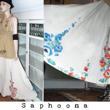 vintage 60s 70s boho hippie muslin gauze cotton wrap maxi skirt Indian ethnic hand painted a line circle skirt festival wedding W US Ship
