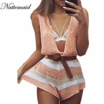 NATTEMAID 2017 Spring Summer knitted jumpsuits women rompers Drop v neck loose short jumpsuit Female  sleeveless Novel pattern